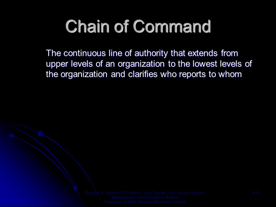 Chain of Command The continuous line of authority that extends from upper levels of an organization to the lowest levels of the organization and clarifies who reports to whom Chapter 9, Stephen P.