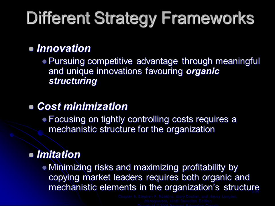 Different Strategy Frameworks Innovation Innovation Pursuing competitive advantage through meaningful and unique innovations favouring organic structuring Pursuing competitive advantage through meaningful and unique innovations favouring organic structuring Cost minimization Cost minimization Focusing on tightly controlling costs requires a mechanistic structure for the organization Focusing on tightly controlling costs requires a mechanistic structure for the organization Imitation Imitation Minimizing risks and maximizing profitability by copying market leaders requires both organic and mechanistic elements in the organization's structure Minimizing risks and maximizing profitability by copying market leaders requires both organic and mechanistic elements in the organization's structure Chapter 9, Stephen P.