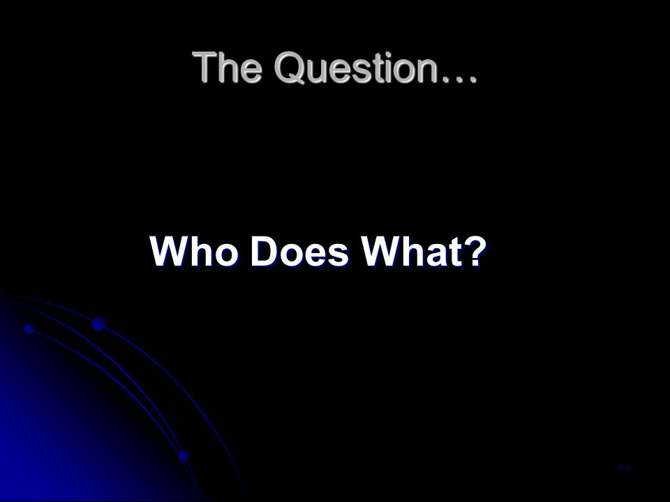 The Question… Who Does What 1-4