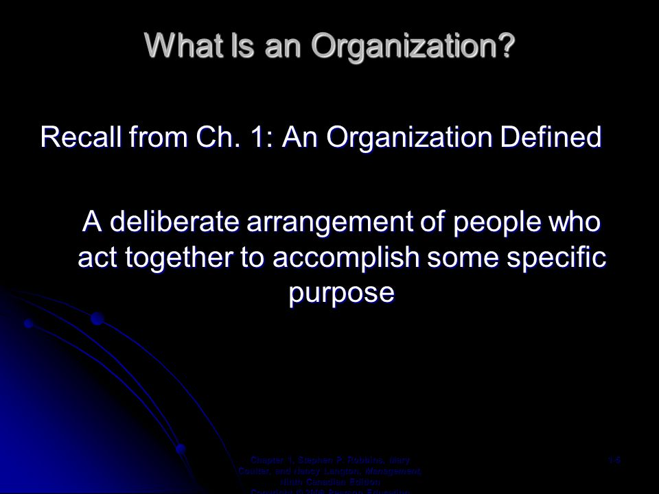 What Is an Organization. Recall from Ch.