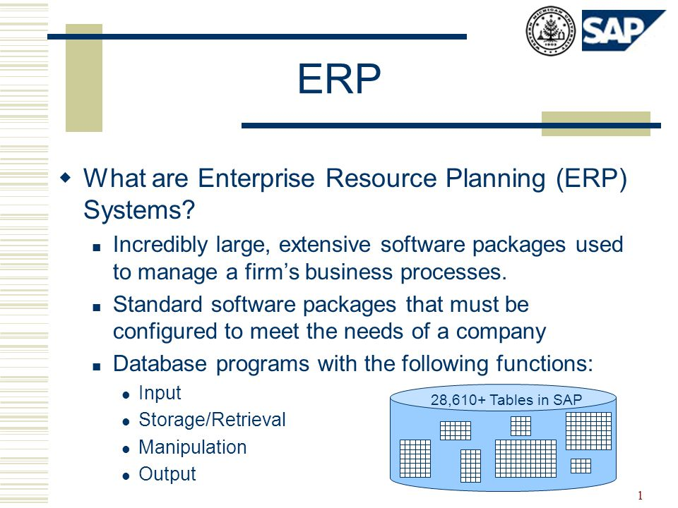 1 ERP  What are Enterprise Resource Planning (ERP) Systems.