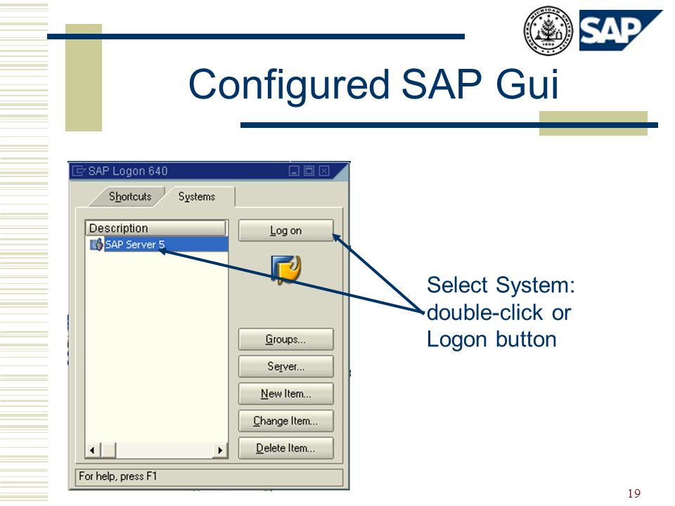 19 Configured SAP Gui Select System: double-click or Logon button