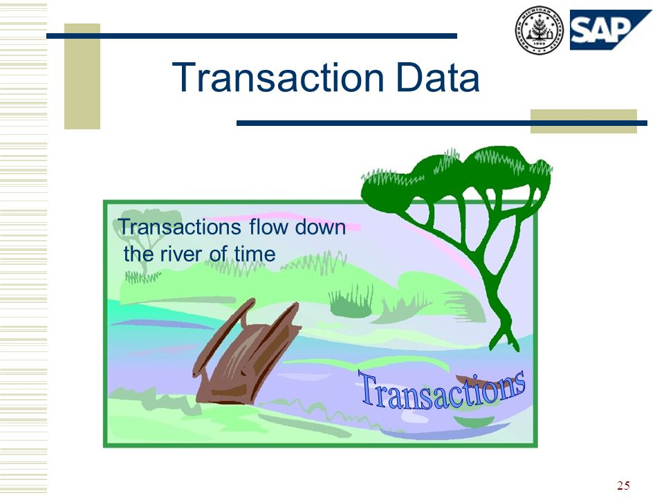 25 Transaction Data Transactions flow down the river of time