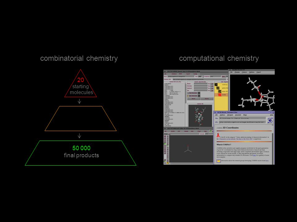 combinatorial chemistrycomputational chemistry 20 starting molecules final products