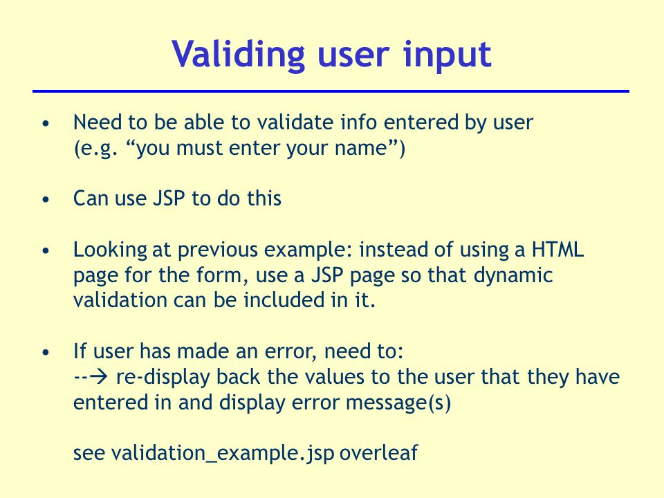 Validating input in jsp