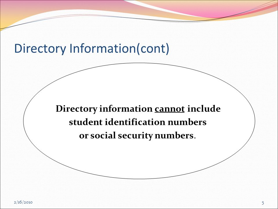 2/16/2010 Directory Information(cont) 5 Directory information cannot include student identification numbers or social security numbers.