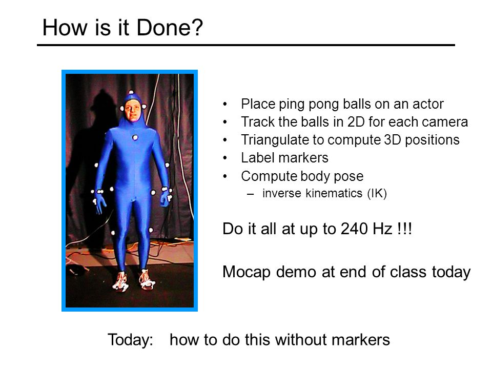 Today Project 2 Recap 3D Motion Capture Marker-based Video