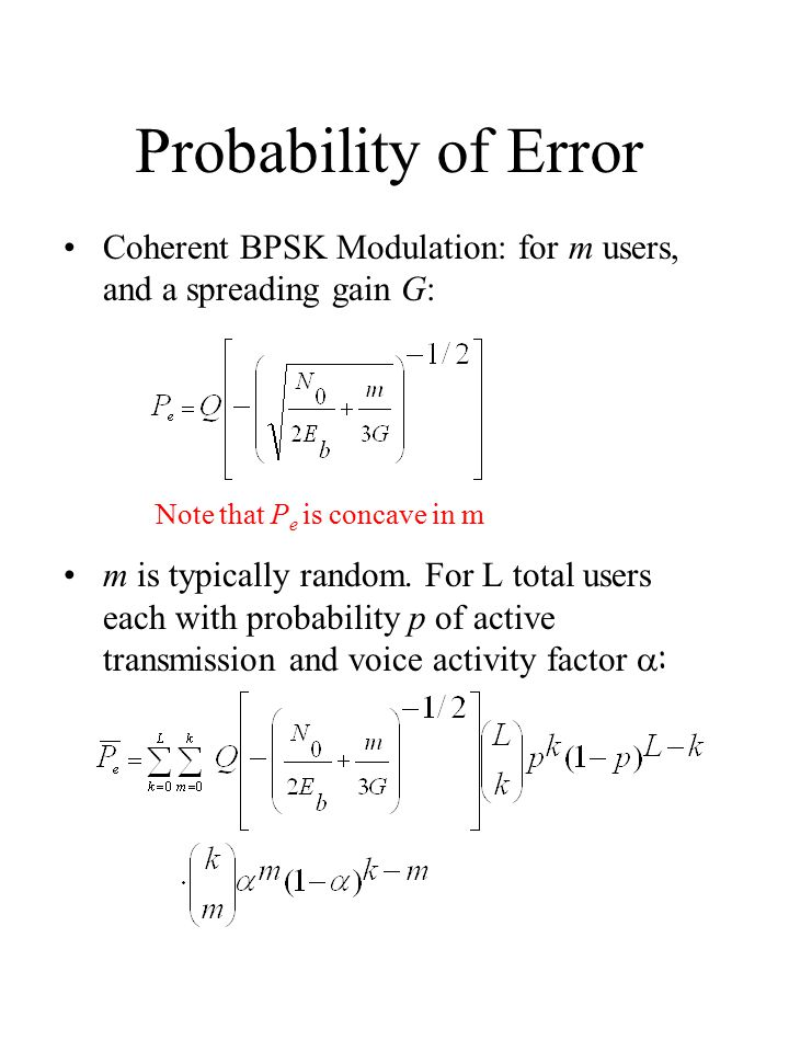 Probability of Error Coherent BPSK Modulation: for m users, and a spreading gain G: m is typically random.