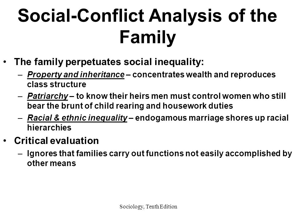 Sociology, Tenth Edition Social-Conflict Analysis of the Family The family perpetuates social inequality: –Property and inheritance – concentrates wealth and reproduces class structure –Patriarchy – to know their heirs men must control women who still bear the brunt of child rearing and housework duties –Racial & ethnic inequality – endogamous marriage shores up racial hierarchies Critical evaluation –Ignores that families carry out functions not easily accomplished by other means