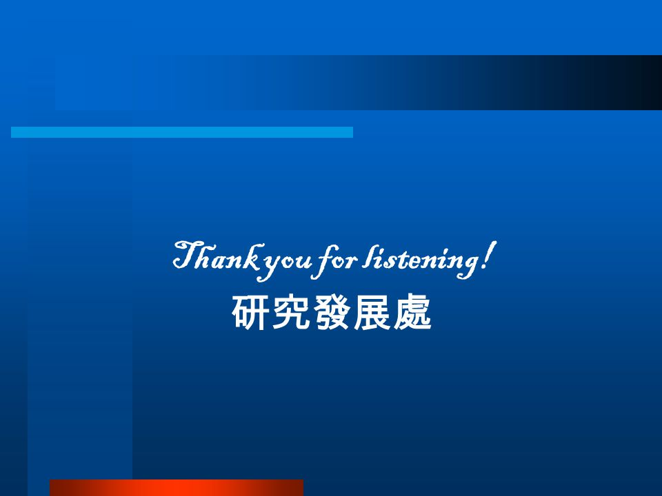 Thank you for listening! 研究發展處