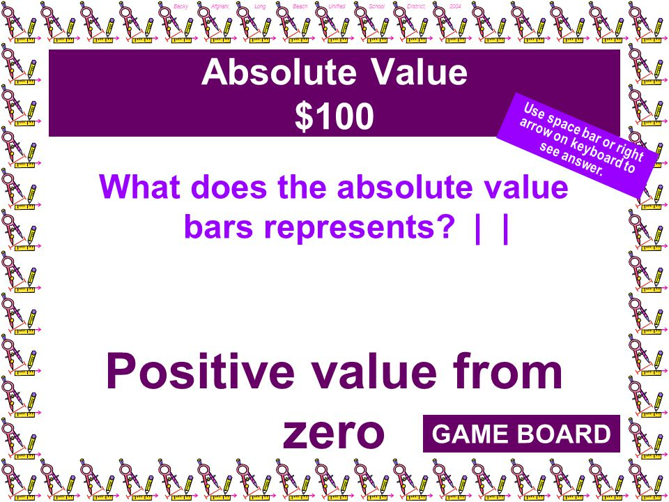 Becky Afghani, Long Beach Unified School District, 2004 Absolute Value $100 What does the absolute value bars represents.
