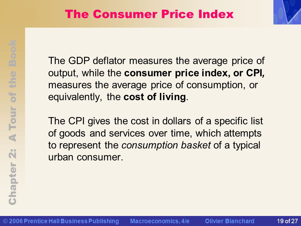 Chapter 2: A Tour of the Book © 2006 Prentice Hall Business Publishing Macroeconomics, 4/e Olivier Blanchard19 of 27 The Consumer Price Index The GDP deflator measures the average price of output, while the consumer price index, or CPI, measures the average price of consumption, or equivalently, the cost of living.
