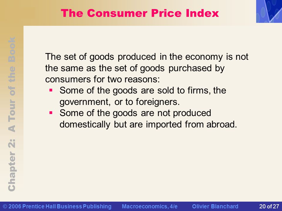 Chapter 2: A Tour of the Book © 2006 Prentice Hall Business Publishing Macroeconomics, 4/e Olivier Blanchard20 of 27 The Consumer Price Index The set of goods produced in the economy is not the same as the set of goods purchased by consumers for two reasons:  Some of the goods are sold to firms, the government, or to foreigners.
