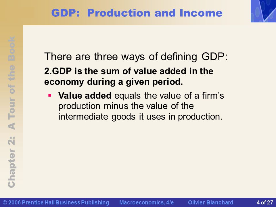 Chapter 2: A Tour of the Book © 2006 Prentice Hall Business Publishing Macroeconomics, 4/e Olivier Blanchard4 of 27 GDP: Production and Income There are three ways of defining GDP: 2.GDP is the sum of value added in the economy during a given period.