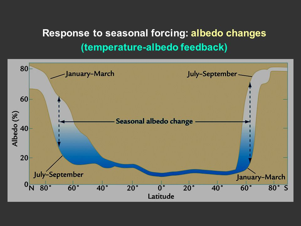 Response to seasonal forcing: albedo changes (temperature-albedo feedback)
