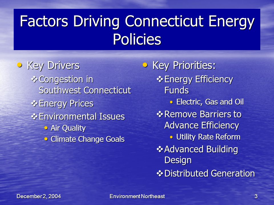 December 2, 2004Environment Northeast3 Factors Driving Connecticut Energy Policies Key Drivers Key Drivers  Congestion in Southwest Connecticut  Energy Prices  Environmental Issues Air Quality Air Quality Climate Change Goals Climate Change Goals Key Priorities: Key Priorities:  Energy Efficiency Funds Electric, Gas and Oil  Remove Barriers to Advance Efficiency Utility Rate Reform  Advanced Building Design  Distributed Generation