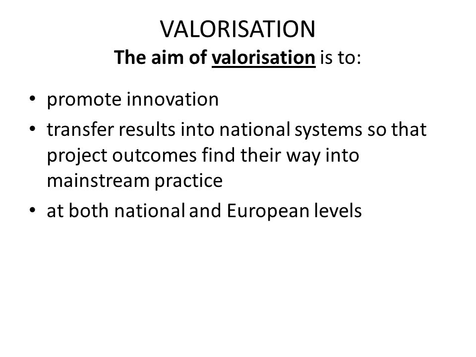 VALORISATION The aim of valorisation is to: promote innovation transfer results into national systems so that project outcomes find their way into mainstream practice at both national and European levels