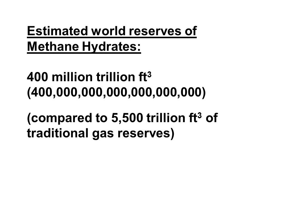 Estimated world reserves of Methane Hydrates: 400 million trillion ft 3 (400,000,000,000,000,000,000) (compared to 5,500 trillion ft 3 of traditional gas reserves)