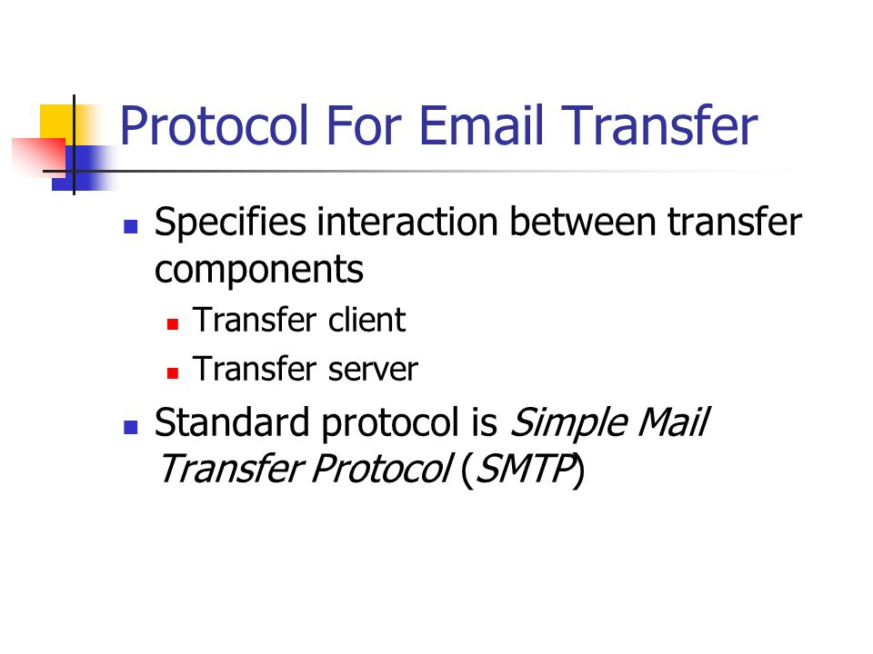 Protocol For  Transfer Specifies interaction between transfer components Transfer client Transfer server Standard protocol is Simple Mail Transfer Protocol (SMTP)