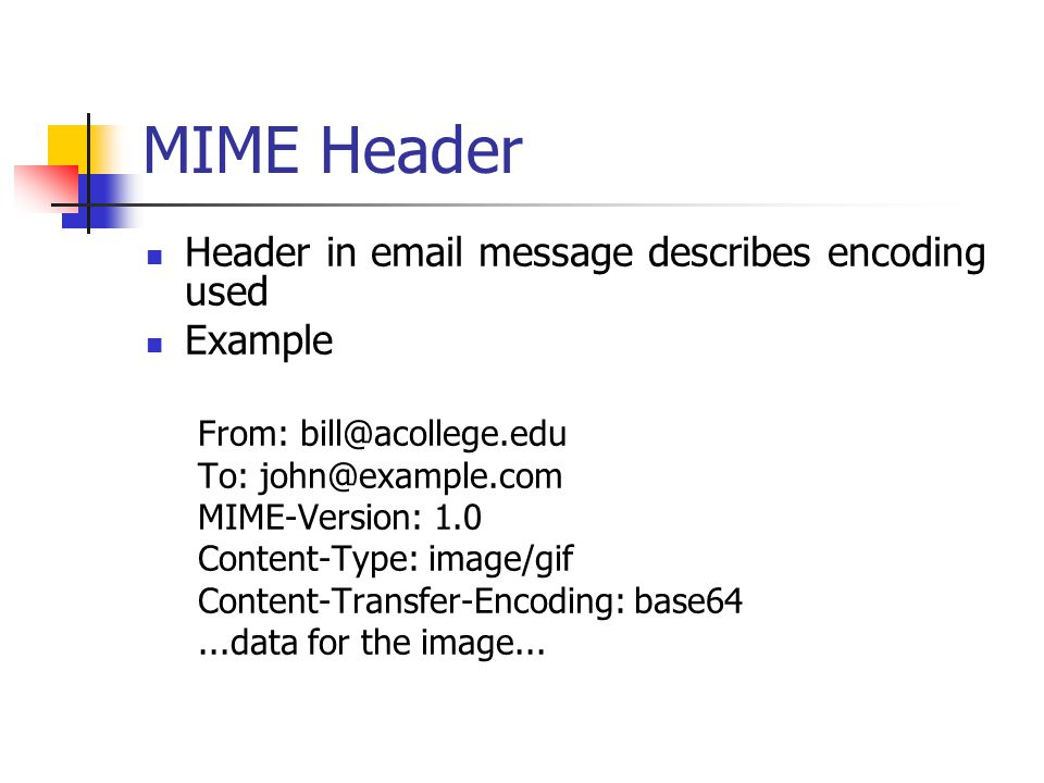 MIME Header Header in  message describes encoding used Example From: To: MIME-Version: 1.0 Content-Type: image/gif Content-Transfer-Encoding: base64...data for the image...