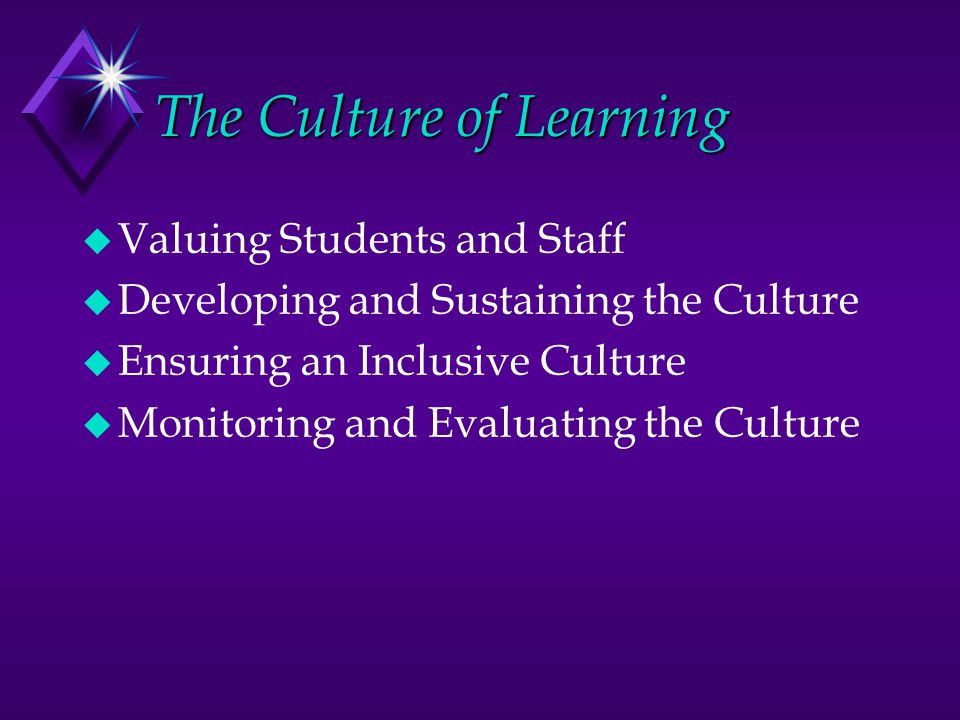 The Culture of Learning u Valuing Students and Staff u Developing and Sustaining the Culture u Ensuring an Inclusive Culture u Monitoring and Evaluating the Culture