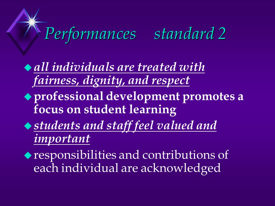 Performancesstandard 2 u all individuals are treated with fairness, dignity, and respect u professional development promotes a focus on student learning u students and staff feel valued and important u responsibilities and contributions of each individual are acknowledged