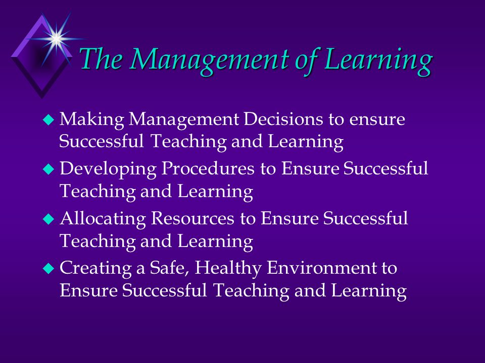 The Management of Learning u Making Management Decisions to ensure Successful Teaching and Learning u Developing Procedures to Ensure Successful Teaching and Learning u Allocating Resources to Ensure Successful Teaching and Learning u Creating a Safe, Healthy Environment to Ensure Successful Teaching and Learning
