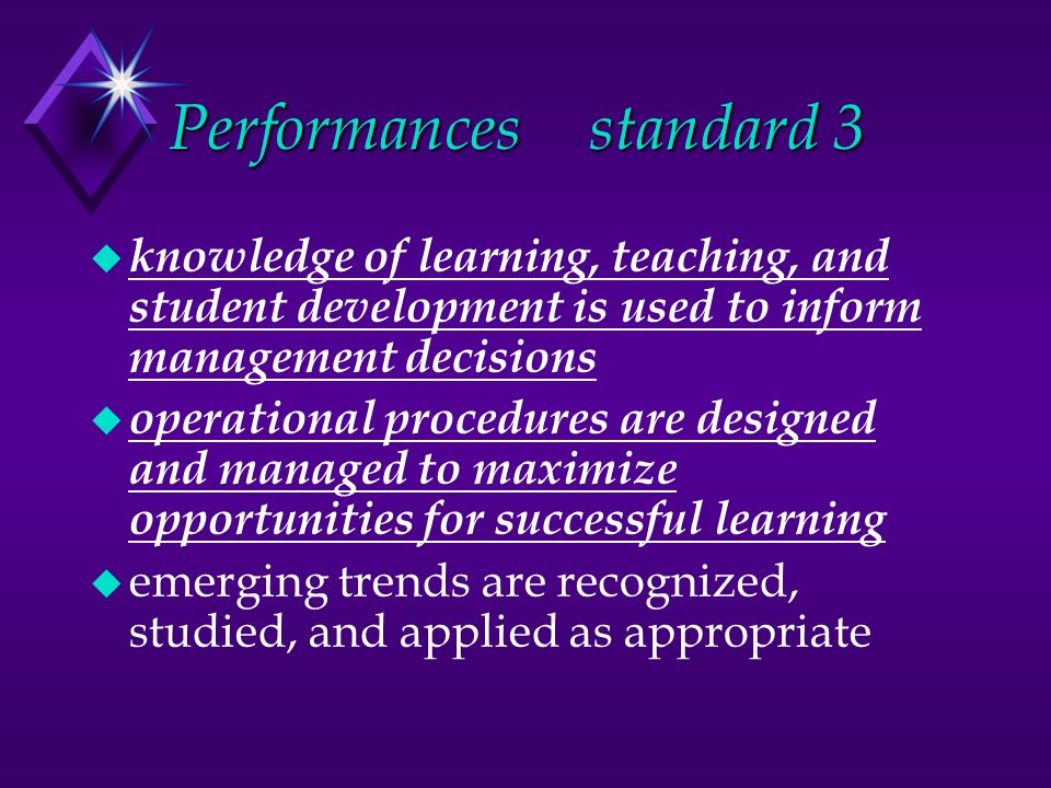 Performancesstandard 3 u knowledge of learning, teaching, and student development is used to inform management decisions u operational procedures are designed and managed to maximize opportunities for successful learning u emerging trends are recognized, studied, and applied as appropriate