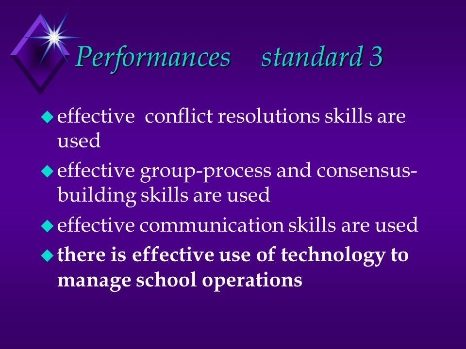 Performancesstandard 3 u effective conflict resolutions skills are used u effective group-process and consensus- building skills are used u effective communication skills are used u there is effective use of technology to manage school operations