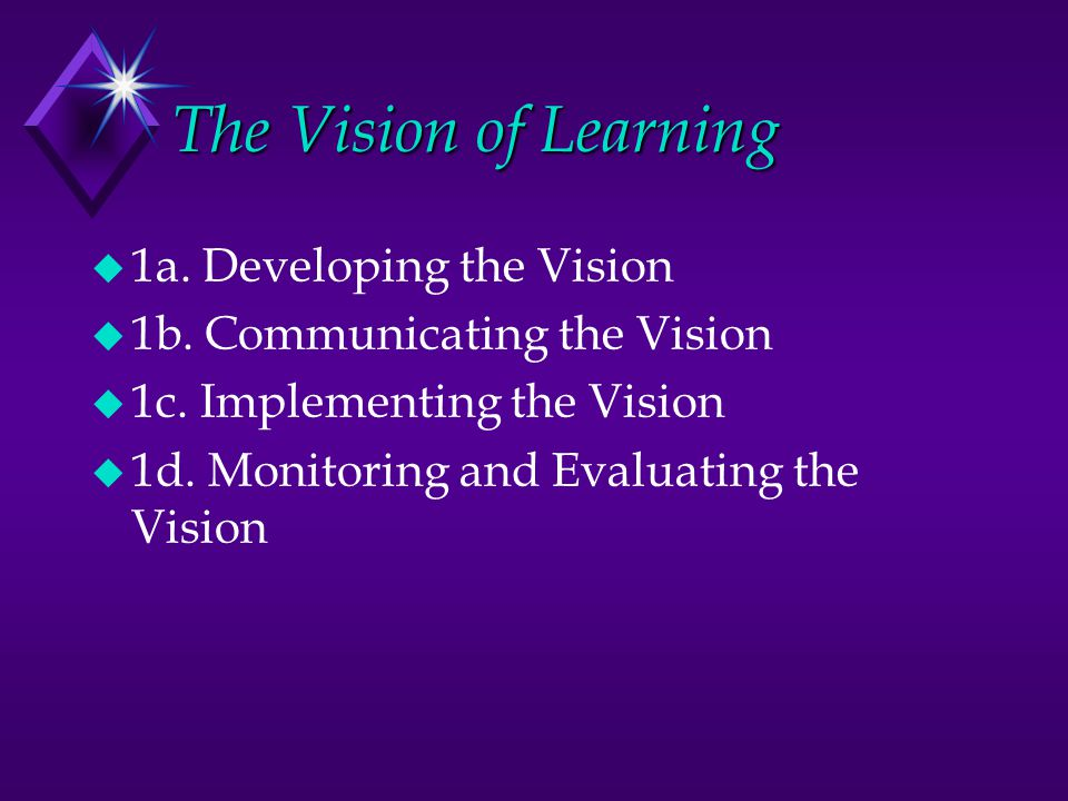 The Vision of Learning u 1a. Developing the Vision u 1b.