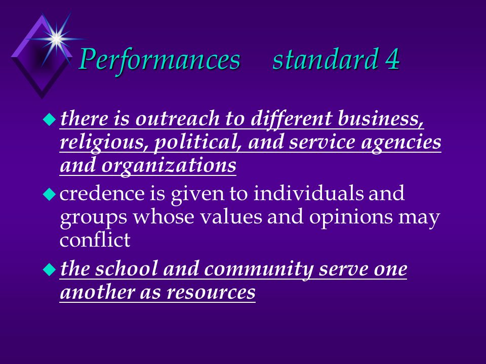 Performancesstandard 4 u there is outreach to different business, religious, political, and service agencies and organizations u credence is given to individuals and groups whose values and opinions may conflict u the school and community serve one another as resources