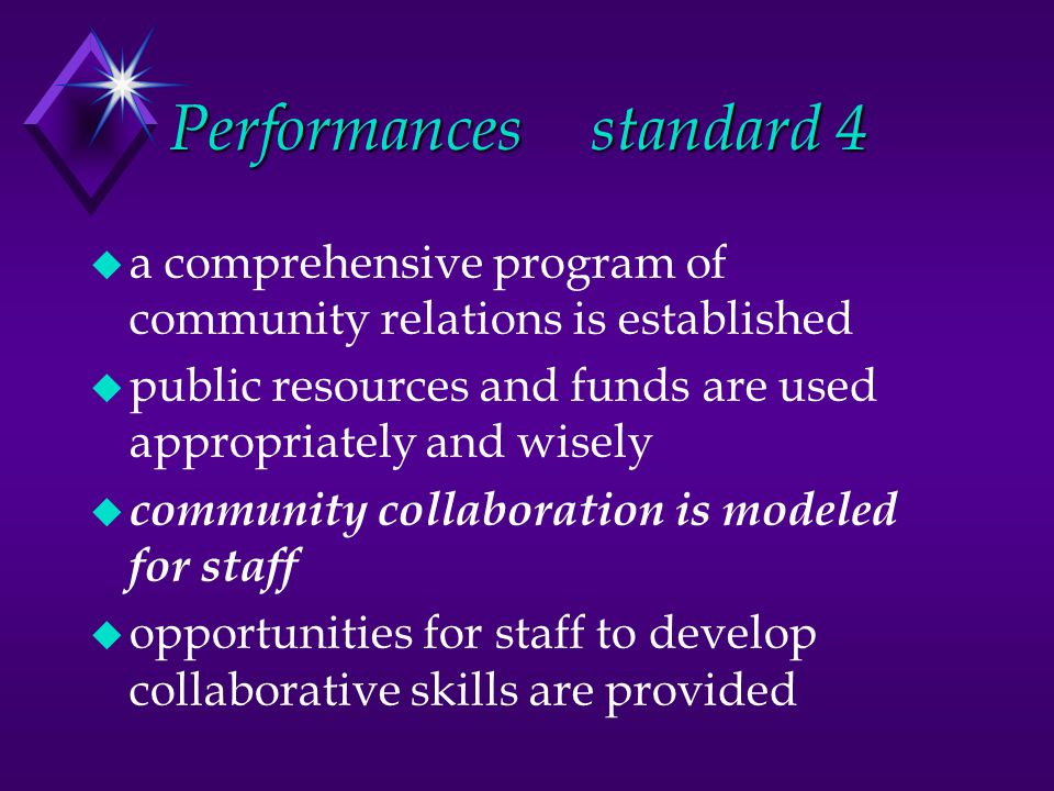 Performancesstandard 4 u a comprehensive program of community relations is established u public resources and funds are used appropriately and wisely u community collaboration is modeled for staff u opportunities for staff to develop collaborative skills are provided