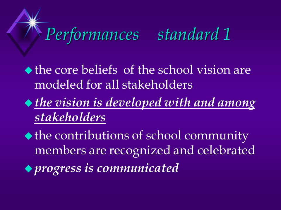 Performancesstandard 1 u the core beliefs of the school vision are modeled for all stakeholders u the vision is developed with and among stakeholders u the contributions of school community members are recognized and celebrated u progress is communicated