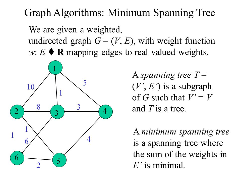 Graph Algorithms: Minimum Spanning Tree We are given a weighted, undirected graph G = (V, E), with weight function w: E  R mapping edges to real valued weights.