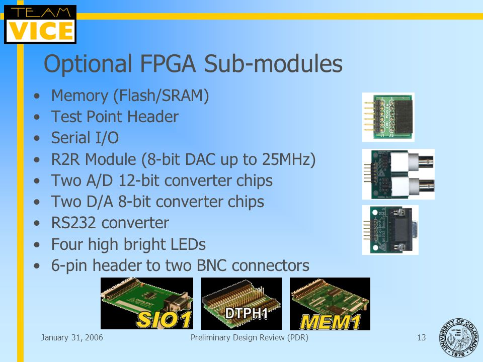 January 31, 2006Preliminary Design Review (PDR)13 Optional FPGA Sub-modules Memory (Flash/SRAM) Test Point Header Serial I/O R2R Module (8-bit DAC up to 25MHz) Two A/D 12-bit converter chips Two D/A 8-bit converter chips RS232 converter Four high bright LEDs 6-pin header to two BNC connectors