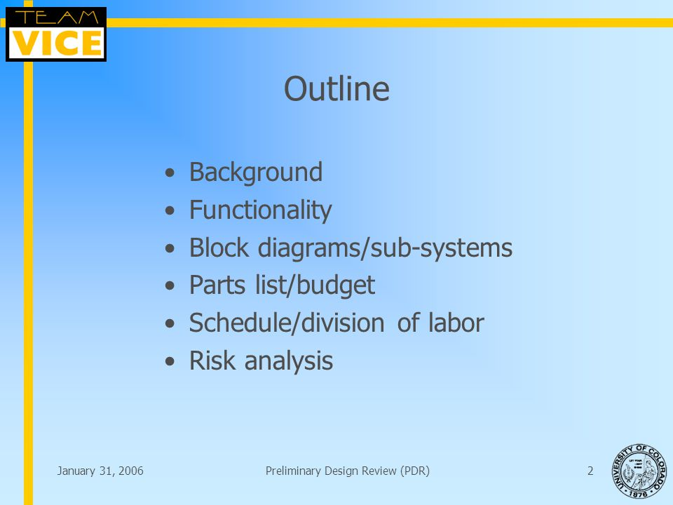 January 31, 2006Preliminary Design Review (PDR)2 Outline Background Functionality Block diagrams/sub-systems Parts list/budget Schedule/division of labor Risk analysis