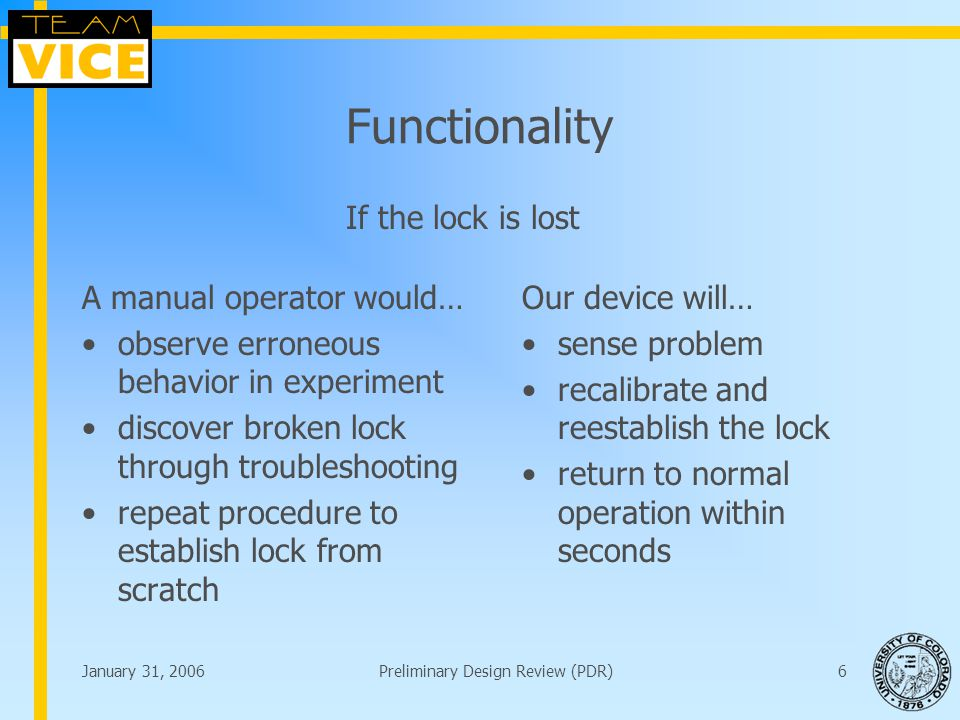 January 31, 2006Preliminary Design Review (PDR)6 Functionality A manual operator would… observe erroneous behavior in experiment discover broken lock through troubleshooting repeat procedure to establish lock from scratch Our device will… sense problem recalibrate and reestablish the lock return to normal operation within seconds If the lock is lost