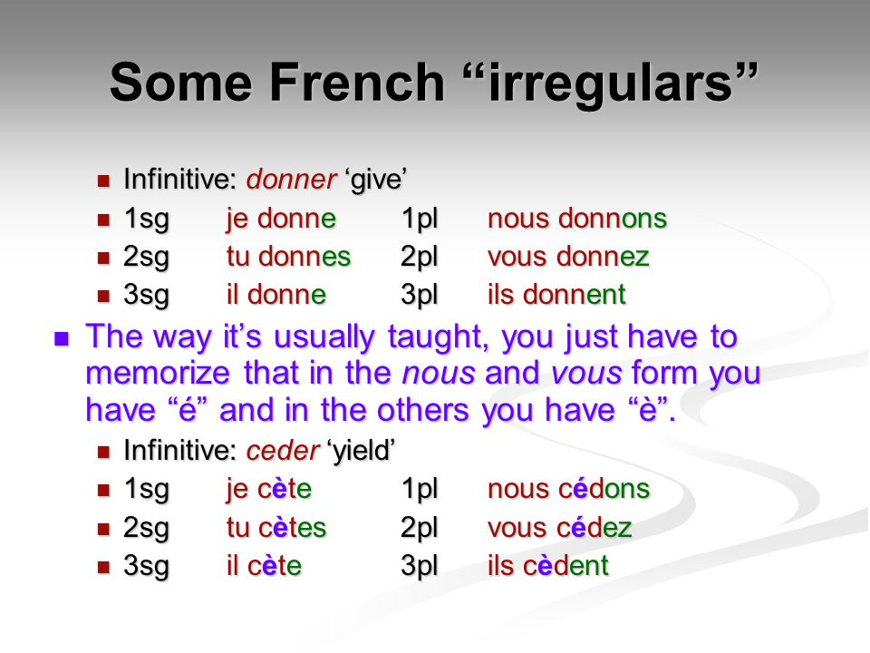 Some French irregulars Infinitive: donner 'give' Infinitive: donner 'give' 1sgje donne1plnous donnons 1sgje donne1plnous donnons 2sgtu donnes2plvous donnez 2sgtu donnes2plvous donnez 3sgil donne3plils donnent 3sgil donne3plils donnent The way it's usually taught, you just have to memorize that in the nous and vous form you have é and in the others you have è .