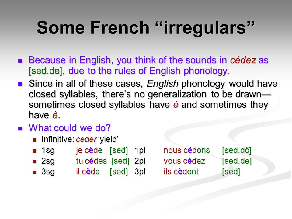 Some French irregulars Because in English, you think of the sounds in cédez as [sed.de], due to the rules of English phonology.