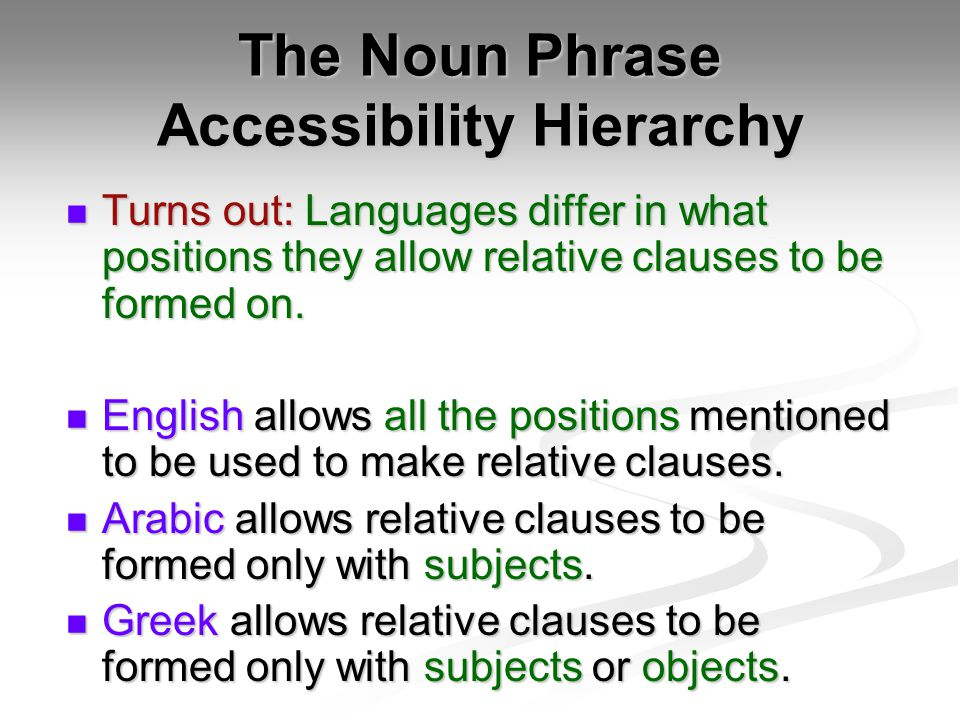 The Noun Phrase Accessibility Hierarchy Turns out: Languages differ in what positions they allow relative clauses to be formed on.