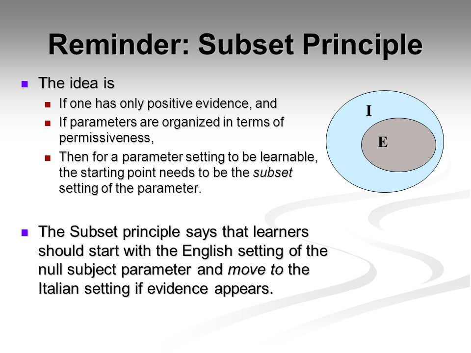 Reminder: Subset Principle The idea is The idea is If one has only positive evidence, and If one has only positive evidence, and If parameters are organized in terms of permissiveness, If parameters are organized in terms of permissiveness, Then for a parameter setting to be learnable, the starting point needs to be the subset setting of the parameter.