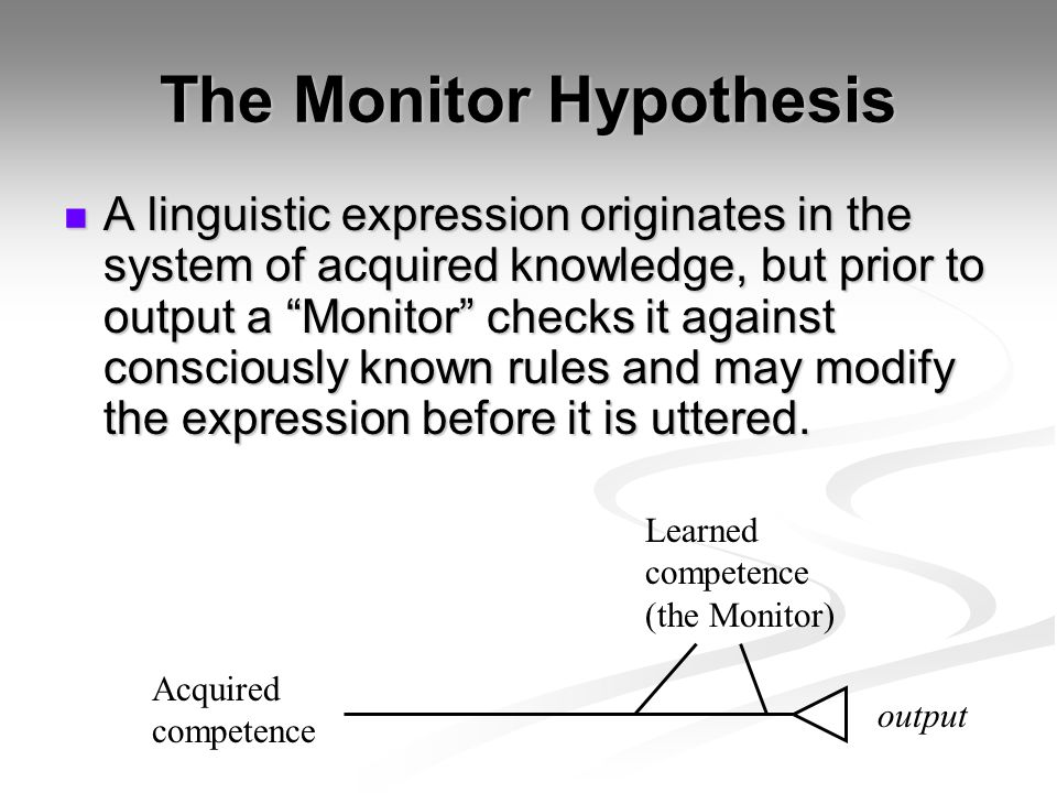 The Monitor Hypothesis A linguistic expression originates in the system of acquired knowledge, but prior to output a Monitor checks it against consciously known rules and may modify the expression before it is uttered.