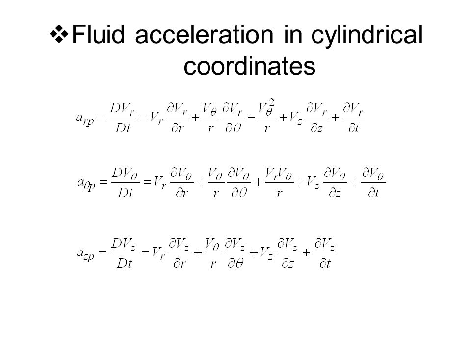  Fluid acceleration in cylindrical coordinates
