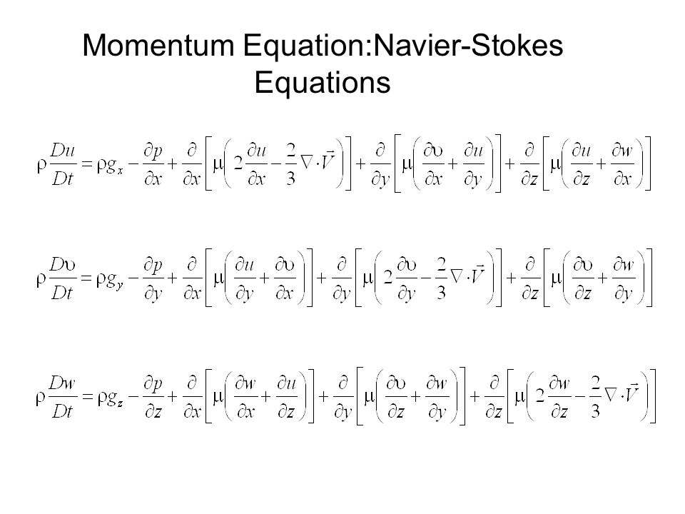 Momentum Equation:Navier-Stokes Equations
