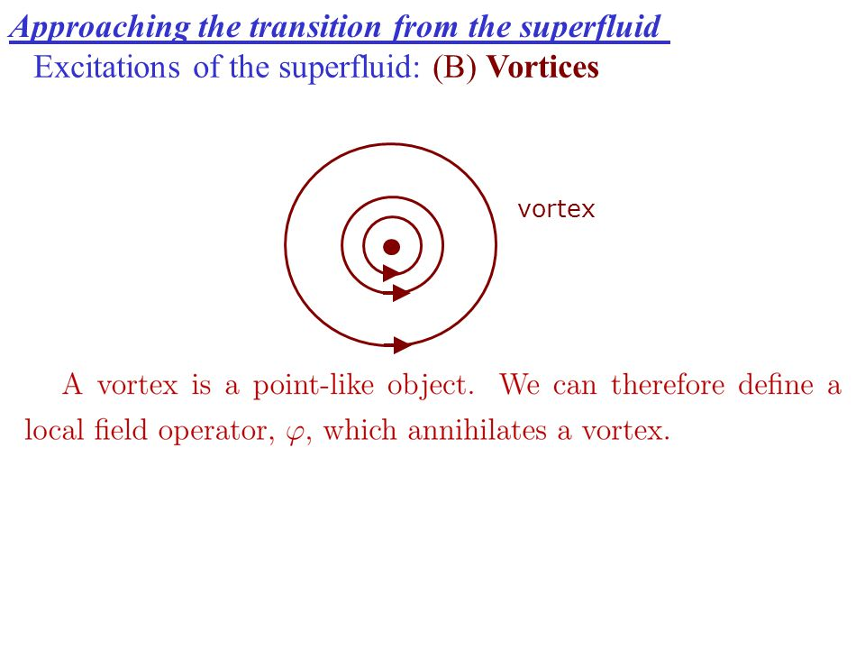 Approaching the transition from the superfluid Excitations of the superfluid: (B) Vortices vortex