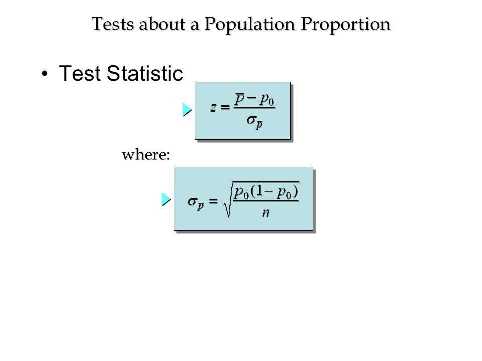 Test Statistic Tests about a Population Proportion where: