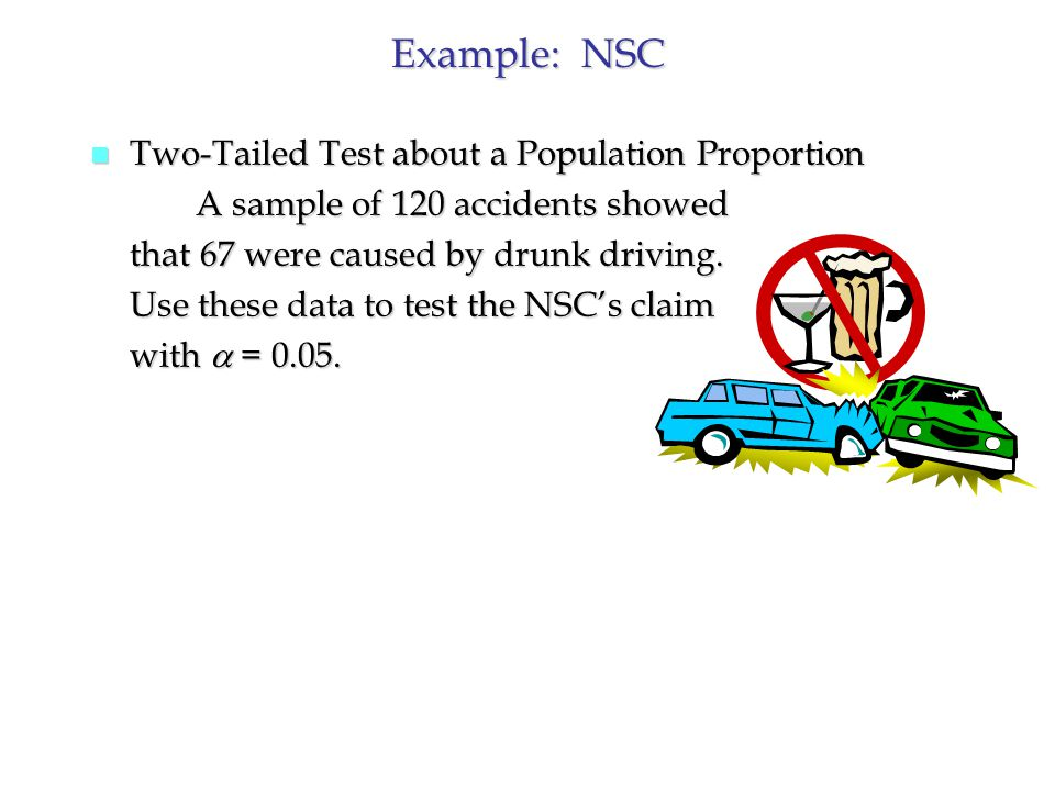 Example: NSC n Two-Tailed Test about a Population Proportion A sample of 120 accidents showed that 67 were caused by drunk driving.