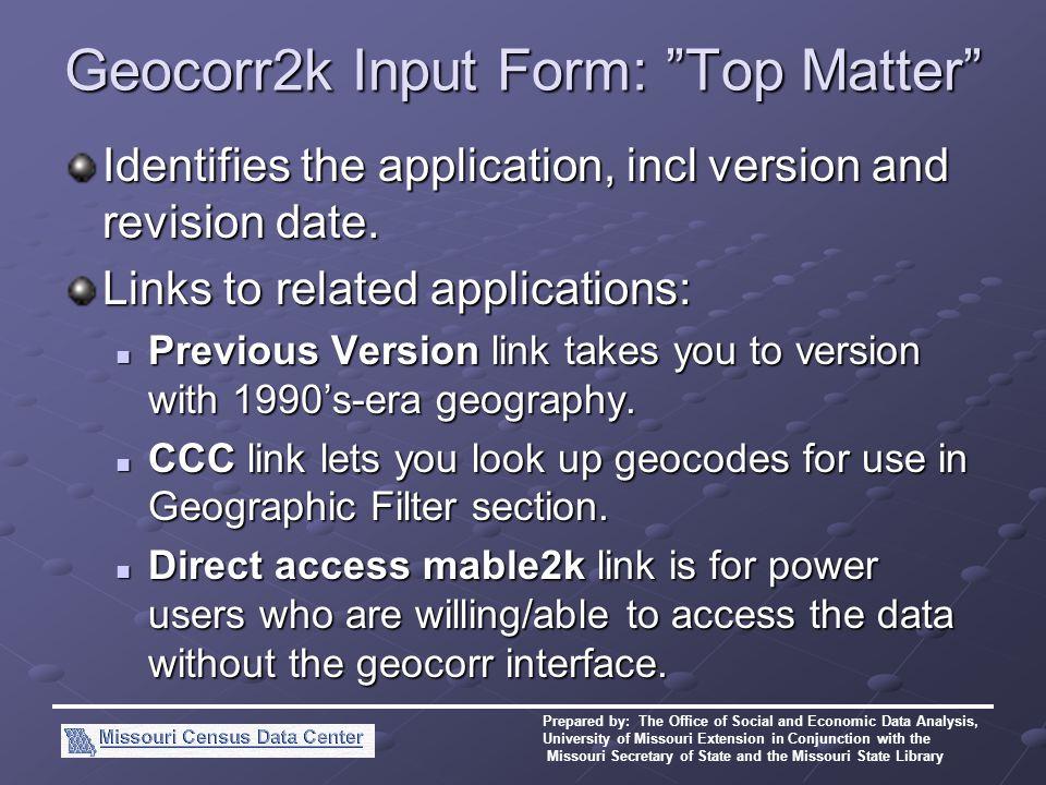 MABLE/Geocorr (2k version) John Blodgett OSEDA Missouri