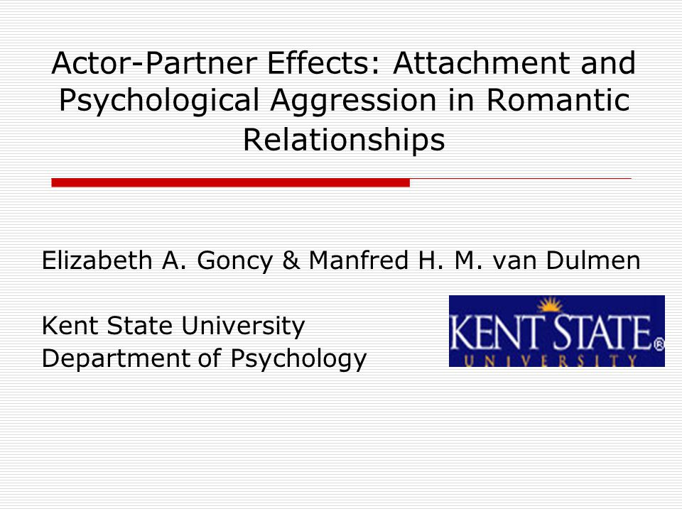 Actor-Partner Effects: Attachment and Psychological Aggression in Romantic Relationships Elizabeth A.