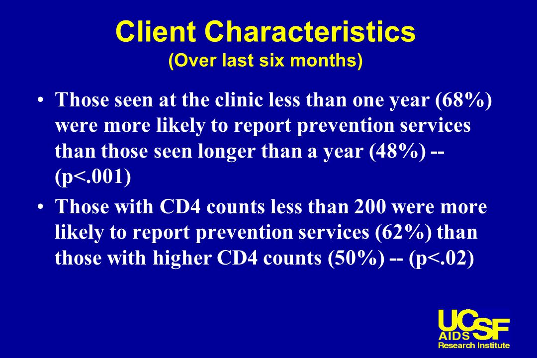 Client Characteristics (Over last six months) Those seen at the clinic less than one year (68%) were more likely to report prevention services than those seen longer than a year (48%) -- (p<.001) Those with CD4 counts less than 200 were more likely to report prevention services (62%) than those with higher CD4 counts (50%) -- (p<.02)